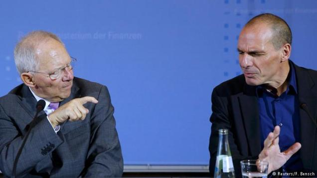Yanis Varoufakis (right) with Wolfgang Schaeuble.